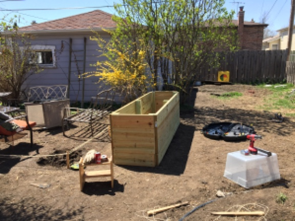 The Container Garden: The north boundary of our patio. 2' x 8' x 29