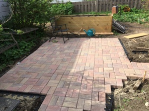 By 4:30, the patio was nearly finished